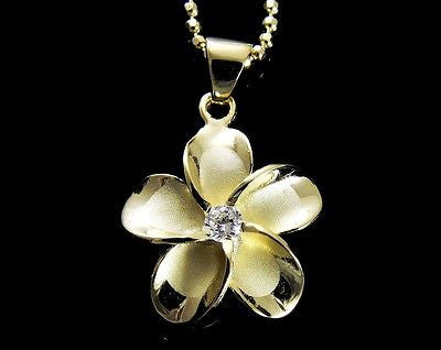 YELLOW GOLD PLATED SILVER 925 HAWAIIAN PLUMERIA FLOWER PENDANT CZ 24MM
