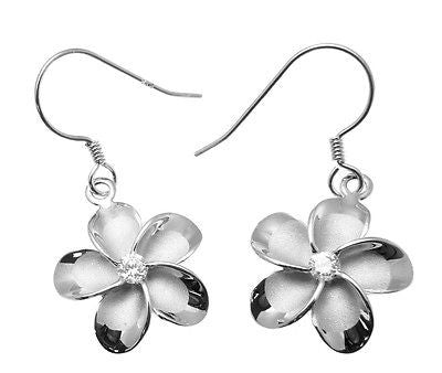 15MM STERLING SILVER 925 HAWAIIAN PLUMERIA FLOWER HOOK WIRE RHODIUM EARRINGS