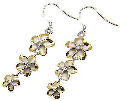 SILVER 925 HAWAIIAN PLUMERIA FLOWER DANGLE HOOK WIRE RHODIUM YELLOW GOLD PLATED