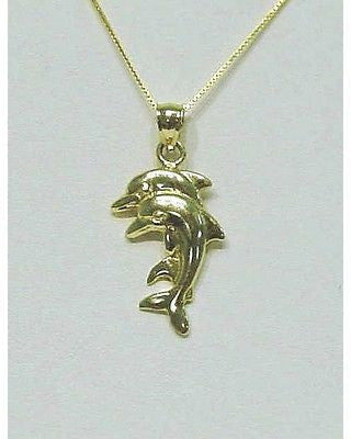 14K SOLID YELLOW GOLD COUPLE DOUBLE HAWAIIAN DOLPHIN CHARM PENDANT