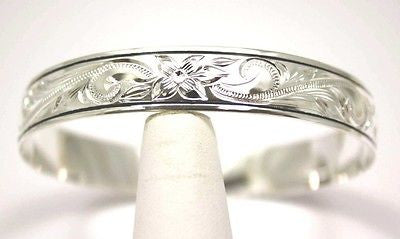 SILVER 925 HAWAIIAN BANGLE BRACELET BLACK ENAMEL BORDER PLUMERIA SCROLL 8MM
