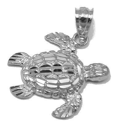 14K SOLID WHITE GOLD SPARKLY DIAMOND CUT SIDE HAWAIIAN SEA TURTLE HONU PENDANT L