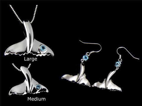 GENUINE BLUE TOPAZ SILVER 925 HAWAIIAN WHALE TAIL PENDANT EARRINGS SET