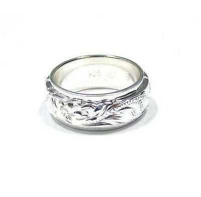 SILVER 925 HAWAIIAN PLUMERIA SCROLL 6MM/8MM DOUBLE RING