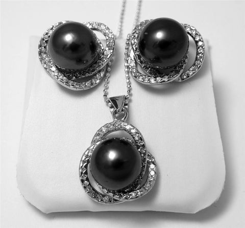 10.60MM GENUINE TAHITIAN PEARL EARRINGS PENDANT SET SILVER 925 CZ (FREE CHAIN)