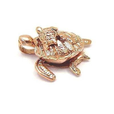 14K SOLID PINK ROSE GOLD 3D MOVING HAWAIIAN SEA TURTLE HONU CARRY BABY PENDANT