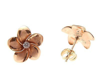 14.5MM 14K SOLID ROSE PINK GOLD HAWAIIAN PLUMERIA FLOWER POST STUD EARRINGS CZ