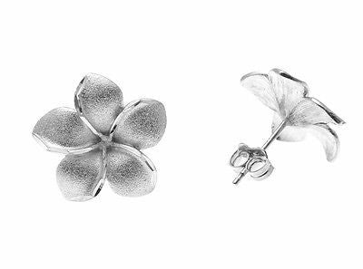 12.5MM 14K SOLID WHITE GOLD HAWAIIAN TROPICAL PLUMERIA FLOWER EARRINGS POST STUD