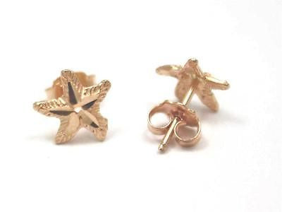 8MM SOLID 14K PINK ROSE GOLD HAWAIIAN SEA STAR STARFISH STUD POST EARRINGS