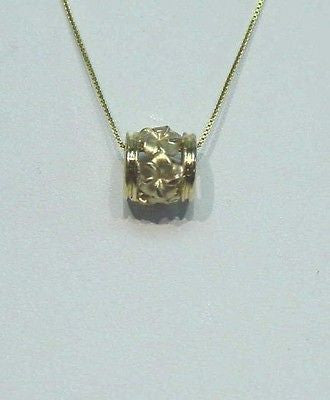 SOLID 14K YELLOW GOLD 9MM HAWAIIAN PLUMERIA TROPICAL FLOWER BARREL SLIDE PENDANT