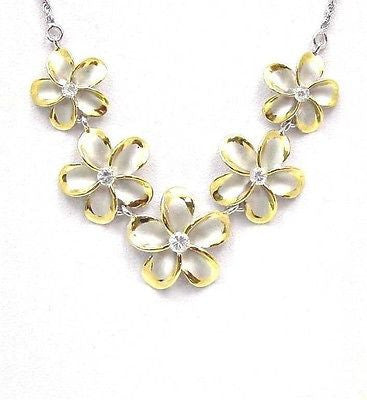 SILVER 925 5 HAWAIIAN PLUMERIA FLOWER NECKLACE RHODIUM YELLOW GOLD 2 TONE LARGE