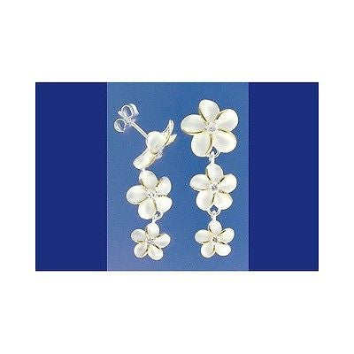 SILVER 925 HAWAIIAN 3 PLUMERIA FLOWER DANGLE EARRINGS CZ 12mm 10mm 8mm 2 TONE