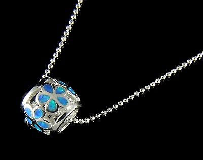 INLAY OPAL HAWAIIAN PLUMERIA FLOWER BARREL TUBE SLIDE PENDANT SOLID SILVER 925