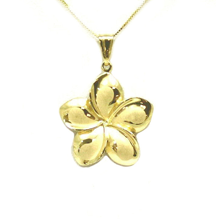 25MM SOLID 14K YELLOW GOLD HAWAIIAN FANCY PLUMERIA FLOWER PENDANT