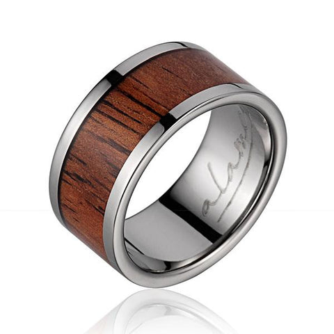 GENUINE INLAY HAWAIIAN KOA WOOD WEDDING BAND RING TITANIUM 12MM SIZE 5-14