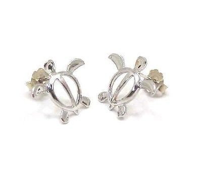 14K SOLID WHITE GOLD SHINY HAWAIIAN HONU SEA TURTLE STUD POST EARRINGS MEDIUM