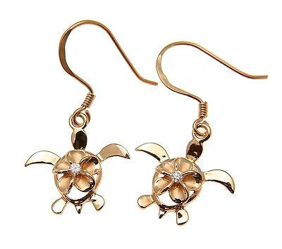 SILVER 925 PINK ROSE HAWAIIAN PLUMERIA FLOWER HONU TURTLE WIRE HOOK EARRINGS CZ