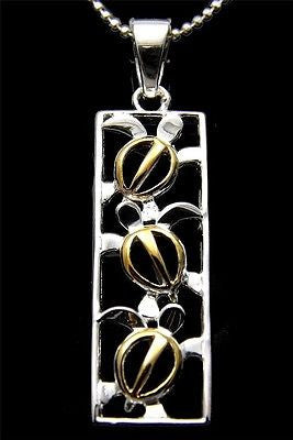 SILVER 925 HAWAIIAN 3 CUT OUT YELLOW GOLD PLATED HONU TURTLE VERTICAL PENDANT