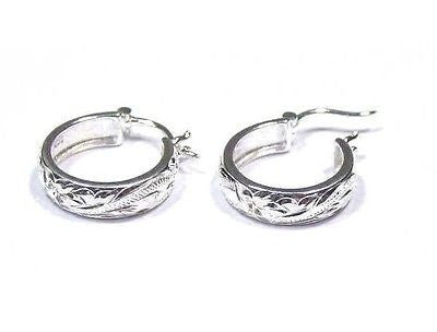20MM STERLING SILVER 925 HAWAIIAN PLUMERIA FLOWER SCROLL ROUND HOOP EARRINGS