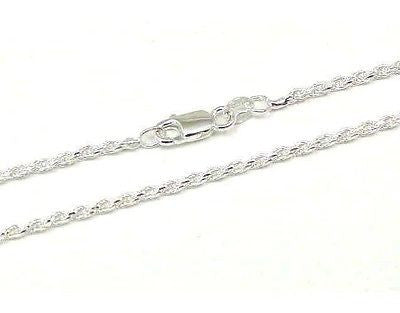 ITALIAN SILVER 925 DIAMOND CUT ROPE CHAIN 2MM 22""