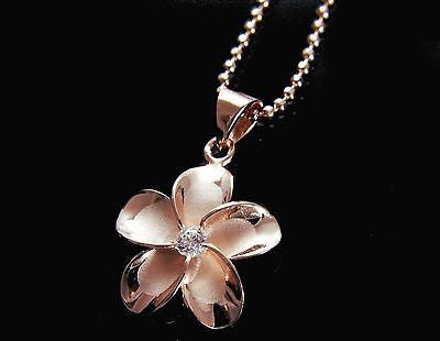 PINK ROSE SILVER 925 HAWAIIAN PLUMERIA FLOWER PENDANT CZ 20MM