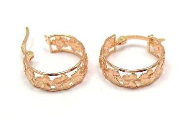 14K SOLID PINK ROSE GOLD HAWAIIAN PLUMERIA FLOWER HOOP EARRINGS DIA. CUT BORDER