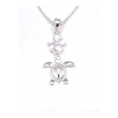 SILVER 925 6MM HAWAIIAN PLUMERIA FLOWER DANGLE HONU TURTLE PENDANT PINK CZ