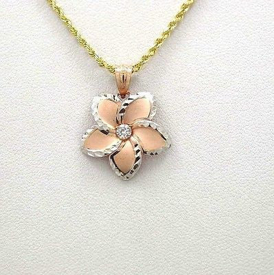 19MM ROSE GOLD HAWAIIAN PLUMERIA WG SMOOTH DIA. CUT CZ