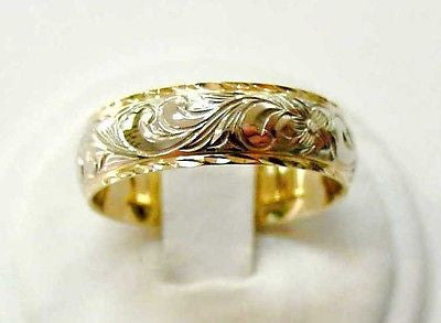 14K SOLID YELLOW WHITE GOLD COMFORT FIT CUSTOM MADE 6MM HAWAIIAN SCROLL RING