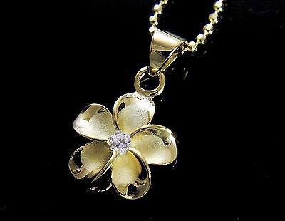 YELLOW GOLD PLATED SILVER 925 HAWAIIAN PLUMERIA FLOWER PENDANT CZ 20MM