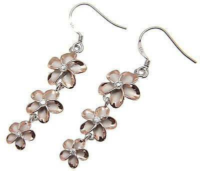 SILVER 925 ROSE GOLD PLATED HAWAIIAN PLUMERIA 3FLOWER HOOK WIRE RHODIUM EARRINGS