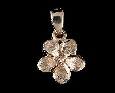 8.5MM 14K SOLID PINK ROSE GOLD HAWAIIAN TROPICAL PLUMERIA FLOWER CHARM PENDANT