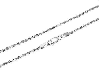 1.5MM SOLID 14K WHITE GOLD DIAMOND CUT ROPE CHAIN ANKLET 9""