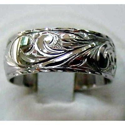 14K WHITE GOLD PERSONALIZED 8MM HAWAIIAN PLUMERIA SCROLL RING RAISED LETTER