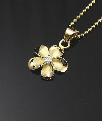 YELLOW GOLD PLATED SILVER 925 HAWAIIAN PLUMERIA FLOWER PENDANT CZ 12MM