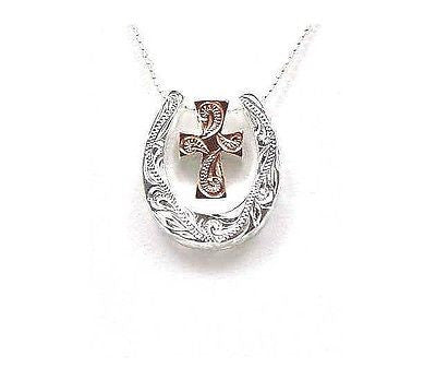 925 STERLING SILVER HIS HERS HAWAIIAN SCROLL PINK GOLD CROSS HORSESHOE PENDANT