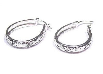 27MM SILVER HAWAIIAN PLUMERIA SCROLL OVAL HOOP EARRINGS