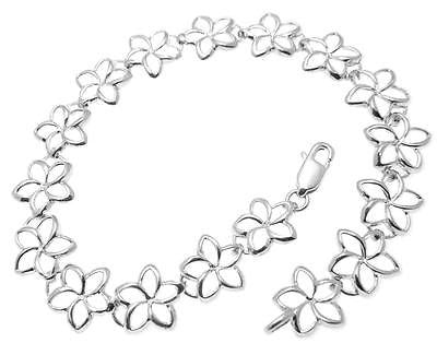 14K YELLOW ROSE WHITE GOLD HAWAIIAN OPEN OUTLINE PLUMERIA FLOWER BRACELET 10MM