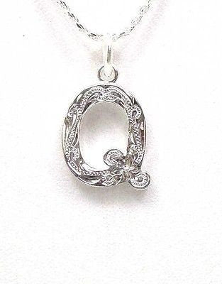 "925 HEAVY HAWAIIAN PLUMERIA SCROLL INITIAL ""Q"" PENDANT"