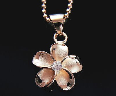 PINK ROSE SILVER 925 HAWAIIAN PLUMERIA FLOWER PENDANT CZ 15MM