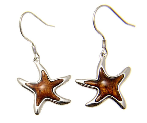 GENUINE INLAY HAWAIIAN KOA WOOD SEA STARFISH EARRINGS HOOK LEVERBACK SILVER 925