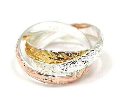 STERLING SILVER 925 TRICOLOR 3 IN 1 HAWAIIAN SCROLL PLUMERIA MAILE LEAF RING