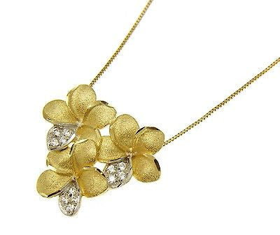 SOLID 14K YELLOW GOLD HAWAIIAN TROPICAL PLUMERIA FLOWER CZ PADDLE SLIDER PENDANT