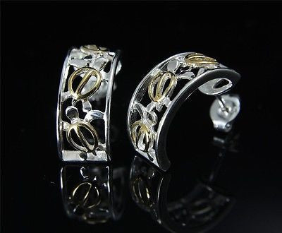 SILVER 925 HAWAIIAN 3 CUT OUT YELLOW GOLD PLATED HONU TURTLE HOOP EARRINGS