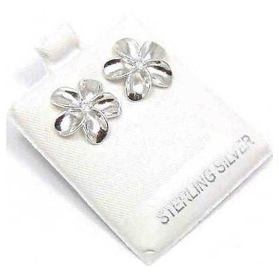 STERLING SILVER 925 SHINY HIGH POLISH HAWAIIAN PLUMERIA FLOWER EARRINGS CZ 15MM
