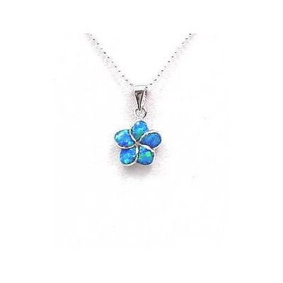 925 STERLING SILVER INLAY OPAL 10MM HAWAIIAN PLUMERIA FLOWER PENDANT CHARM