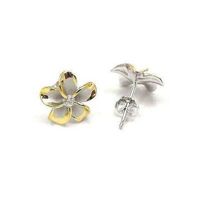 12MM SILVER 925 HAWAIIAN PLUMERIA EARRINGS RHODIUM YG
