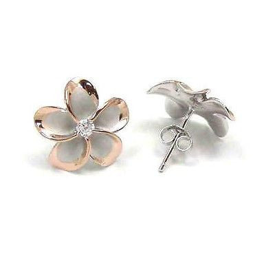 15MM STERLING SILVER 925 HAWAIIAN PLUMERIA EARRINGS RHODIUM PG