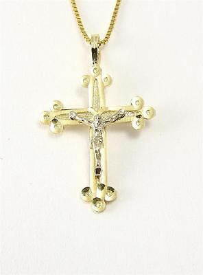 SOLID 14K 2 TONE WHITE GOLD JESUS CHRIST YELLOW CRUCIFIX RELIGIOUS CROSS PENDANT