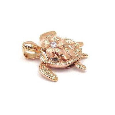 14K SOLID PINK ROSE 3D HAWAIIAN SEA TURTLE HONU CARRY PLUMERIA FLOWER PENDANT